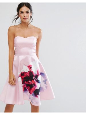 City Goddess bandeau skater dress with placement floral print