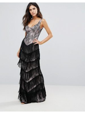 City Goddess Lace Maxi Dress With Fringed Detail