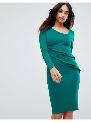 City Goddess Long Sleeve Pencil Dress With Ruched Detail