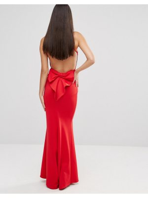 City Goddess maxi dress with bow detail and exposed back