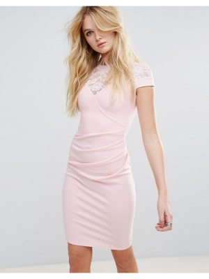 City Goddess Pencil Dress With Lace Detail