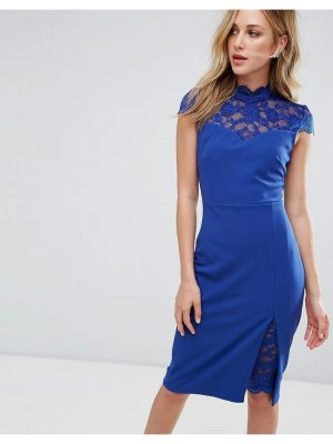 City Goddess Pencil Dress With Lace Inserts