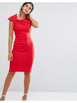 City Goddess Pencil Midi Dress With Shoulder Bow Detail