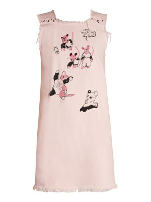 CLAIRE BARROW Cat and Mouse-print square-neck denim dress