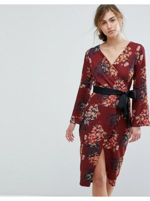 Closet London allover floral wrap pencil dress with belt
