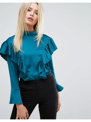 Closet London Closet Blouse in Satin with Frill Detail