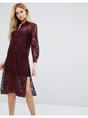 Closet London closet long sleeve collared lace shirt dress