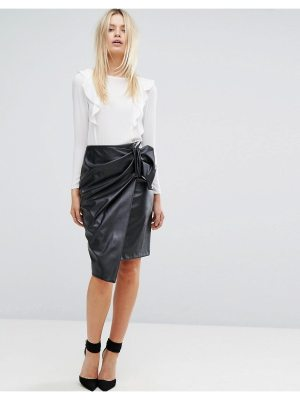 Closet London Closet Wrapover Pencil Skirt In Faux Leather