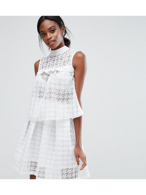 Closet London Crop Top in Sheer Houndstooth Co-ord