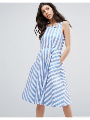 Closet London metallic stripe midi dress