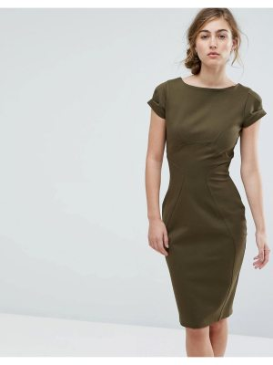 Closet London Pencil Dress With Ruched Cap Sleeve