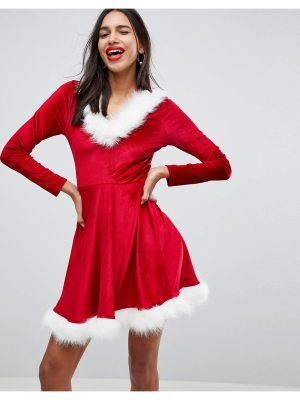 Club L Holidays Sexy Santa Hooded Skater Dress With Faux Fur Trim