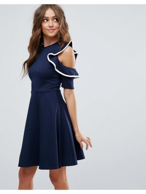 Club L Cold Shoulder Frill Detail Skater Dress With Piping