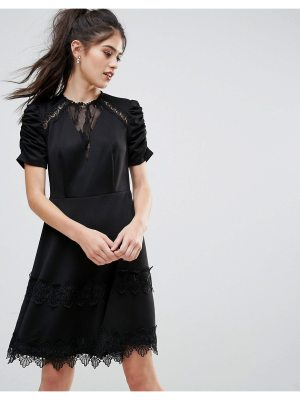 Club L Detailed Crochet & Lace Skater Dress With Puff Detailed Sleeves