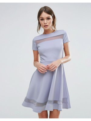 Club L Skater Dress With Mesh Panel