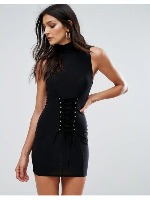 Club L Sleeveless Mini Dress with Corset Lace Up Detail