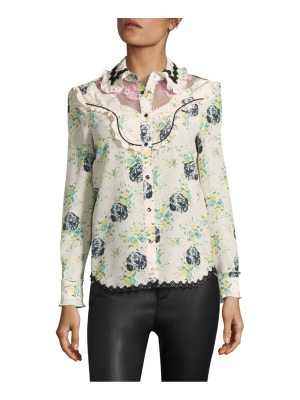 COACH 1941 printed silk & lace western blouse