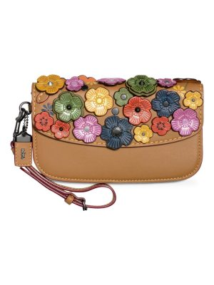 COACH 1941 tea rose applique leather clutch