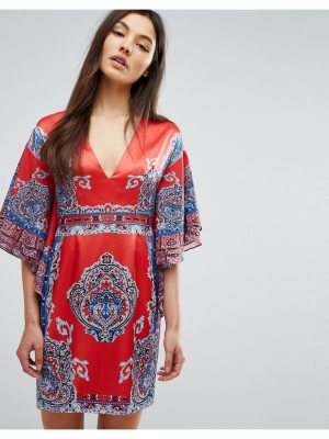 Comino Couture Printed Kimono Dress With Plunge Front