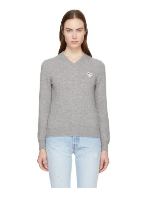 Comme Des Garcons PLAY grey heart patch v-neck sweater