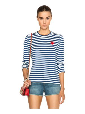 Comme Des Garcons PLAY Striped Cotton Red Heart Tee