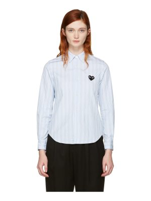 Comme Des Garçons Play Striped Heart Patch Shirt