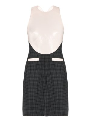 COURRÈGES Faux-leather bodice and hound's-tooth wool dress
