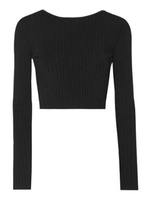 Cushnie et Ochs cropped lace-up ribbed stretch