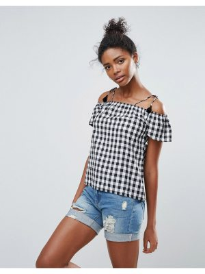 Daisy Street Gingham Cold Shoulder Top