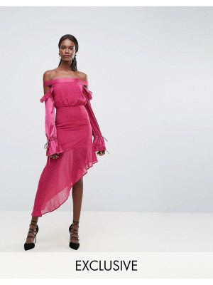 Dark Pink Dobbie Mesh Dress with Contrast Frill Sleeves and Sheer Asymmetric Hem
