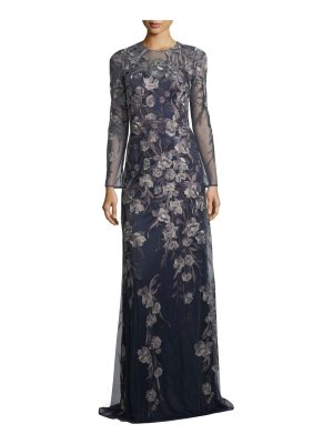 David Meister Long-Sleeve Metallic Floral Gown
