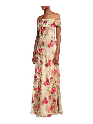 David Meister Off-the-Shoulder Floral Embroidered Evening Gown