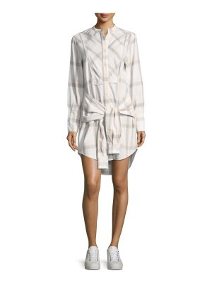 DEREK LAM 10 CROSBY Grid-Print Collarless Tie-Waist Shirtdress