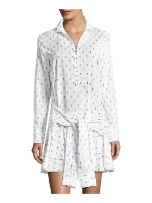 DEREK LAM 10 CROSBY Tie-Waist Shirtdress W Button Detail