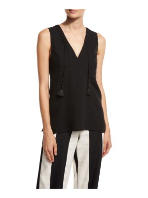 Derek Lam Tassel V-Neck Sleeveless Blouse