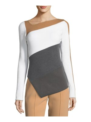 Diane von Furstenberg Asymmetric Colorblock Knit Wool Top