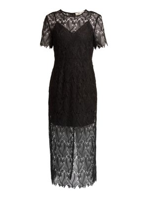 Diane von Furstenberg leaf and floral macramé lace pencil dress