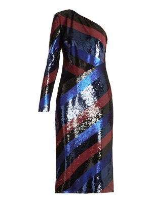 Diane von Furstenberg One Shoulder Striped Sequin Dress
