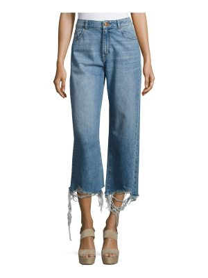 DL 1961 Hepburn High-Rise Wide-Leg Jeans with Shredded Hem