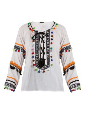 Dodo Bar Or Yehoray pompom-embellished cotton top