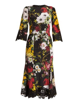 Dolce & Gabbana Floral-print lace-trimmed charmeuse dress