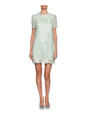 Dolce & Gabbana Short-Sleeve Floral Lace Minidress