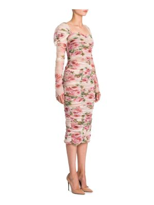 Dolce & Gabbana tulle floral-print cotton dress
