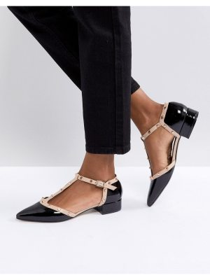 Dune London Clio T Bar Studded Leather Flat Shoes