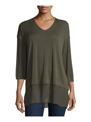 Eileen Fisher 3/4-Sleeve Silk Jersey Blouse