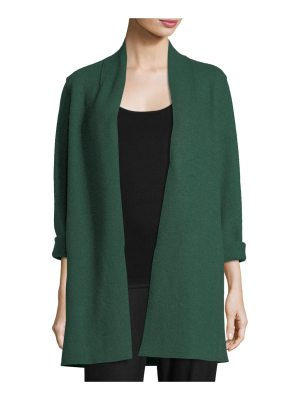 Eileen Fisher High-Collar Open-Front Boiled Wool Coat
