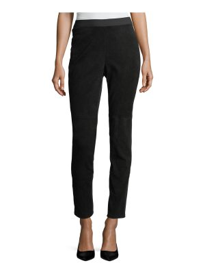 Eileen Fisher Stretch-Suede & Ponte Combo Leggings
