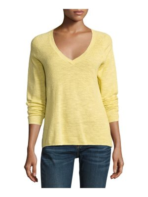 Eileen Fisher V-Neck Organic Linen/Cotton-Blend Slub Top