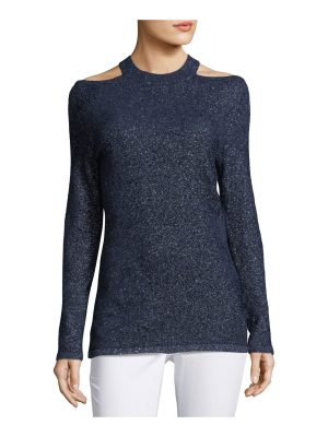 Elie Tahari Brodly Cold-Shoulder Metallic-Knit Sweater