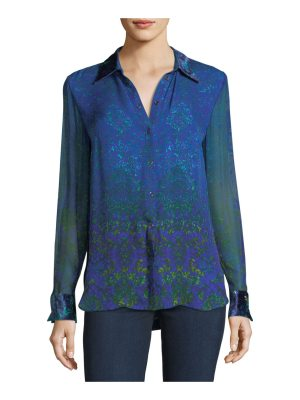 Elie Tahari Martha Long-Sleeve Snap-Front Printed Silk Blouse